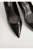 Mango Timsah Derisi Görünümlü Topuklu Ayakkabı