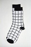 Ef Butik Siyah Beyaz Kareli Çorap