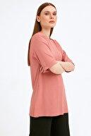 Fullamoda Kadın Pembe Fitilli Yanı Yırtmaçlı Salaş Bluz