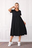 FLY İstanbul Kadın Siyah Geniş Kesim V Yaka Maxi Elbise