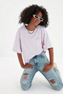 TRENDYOLMİLLA Mavi Yırtık Detaylı Yüksek Bel Mom Jeans TWOSS20JE0180