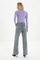 TRENDYOLMİLLA Antrasit Bel Detaylı Yüksek Bel 90's Wide Leg Jeans TWOSS21JE0385