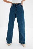 TRENDYOLMİLLA Mavi Paça Detaylı Yüksek Bel Wide Leg Jeans TWOSS20JE0148
