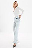 TRENDYOLMİLLA Gri Yıkama Efektli Yüksek Bel Wide Leg Jeans TWOAW21JE0573