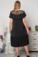 Kheos Yaka Dantel Ve Fırfır Detaylı Siyah Elbise