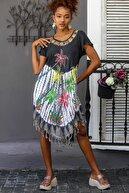 Chiccy Kadın Siyah Palmiye Desenli Kısa Kollu Batik Oversize Elbise M10160000EL94481