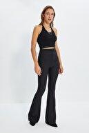 TRENDYOLMİLLA Siyah İspanyol Paça Pantolon TWOAW20PL0576