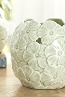 English Home Hortensia Porselen Dekoratif Kase 11.4x11.4x11 Cm Yeşil