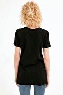 Fullamoda Kadın Siyah Bisiklet Yaka Yırtmaçlı Tshirt