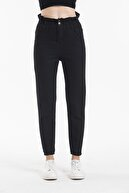 Sismo Butik Siyah Yüksek Bel Beli Lastikli Mom Jeans