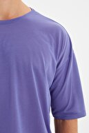 TRENDYOL MAN Koyu Mor Basic Erkek Bisiklet Yaka Oversize Kısa Kollu T-Shirt TMNSS21TS0811
