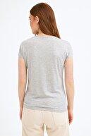 Fullamoda Kadın Gri Kedi Baskılı Tshirt