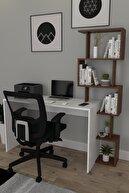 Koordinat Mobilya 120x50 Pratik Kitaplıklı Çalışma Masası Beyaz Ceviz