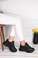 Weynes Kadın Siyah Yüksek Taban Spor Ayakkabı Ba21004