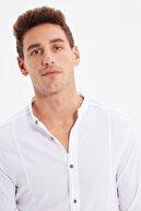 TRENDYOL MAN Beyaz Erkek Hakim Yaka Bengalin Kuplu Süper Slim Fit Gömlek TMNSS20GO0121
