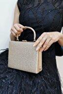 NAZART Kadın Kum Sim Altın Abiye Clutch Çantası