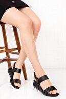 Bellacomfort Shoes Kadın Siyah Hakiki Deri  Dolgu Topuk Sandalet