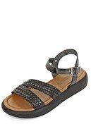 GÖNDERİ(R) Hakiki Deri Siyah Kadın Sandalet 35815