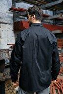 Sateen Men Erkek Siyah Oversize Yıkamalı Gömlek