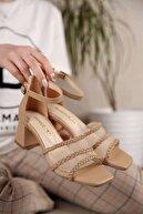 Ccway Kadın Nude Cilt File Örgü Bantlı Topuklu Sandalet