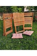 USF Katlanır Balkon Bahçe Mutfak Ahşap Masa Sandalye 3'lü Bistro Set