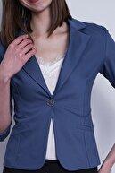 Jument Süs Cepli Kapri Kol Düğmeli Blazer Mono Kısa Ceket-dirty Blue