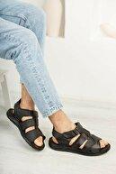Moda İkiz Erkek Siyah Sandalet Ayakkabı