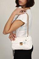 Top All BAG Beyaz Kadın El Ve Omuz Kapitone Çanta