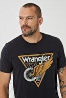 Wrangler Erkek Siyah Regular Fit Normal Kesim Sıfır Yaka %100 Pamuk Tişört