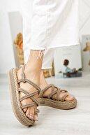 RedShoes Kadın Vizon Yüksek Taban Halat Sandalet