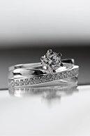 Valori Jewels Altı Tırnak 0.75 Karat Tektaş Ve Çapraz Gümüş Yüzük Kombini