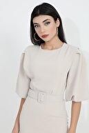 VAPUR TEKSTİL Balon Kol Kemerli Allerli Dubai Elbise