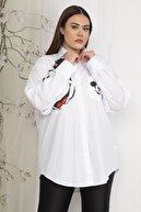 Şans Kadın Beyaz Oversize Baskılı Gömlek