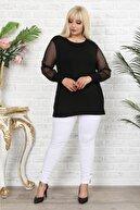 1fazlası Kadın Büyük Beden Siyah Puantiye Flok Desenli Bluz