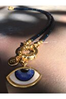 floom jewelry Mavi Göz Detaylı Boru Hematit Kolye