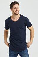 Tarz Cool Erkek Koyu Lacivert Pis Yaka Salaş T-shirt