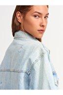 Dilvin 5297 Lazerli Oversize Gömlek-mavi
