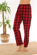 Arvin Kadın Kırmızı Ekose Baskılı Pijama Altı