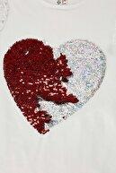 Defacto Kız Çocuk Beyaz Kalp Payetli Kısa Kol Tişört