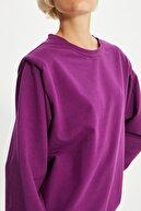 TRENDYOLMİLLA Mürdüm Vatkalı Basic Örme İnce Sweatshirt TWOAW21SW1139