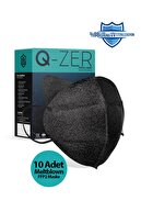 Medizer Qzer Siyah Yüzler Desenli N95 Maske 10 Adet