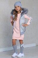 Riccotarz Kız Çocuk Kürklü Parlak Yelekli Pudra Elbise