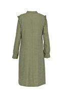 Soydan Güner Kadın Yeşil Gizli Patlı Pamuk Gömlek Tunik 6001
