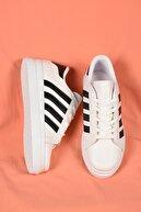 Weynes Kadın Beyaz Bağcıklı Siyah Şeritli Deri Spor Ayakkabı Ba18018