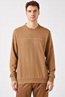 Koton Erkek Kahverengi Bisiklet Yaka Uzun Kollu Sweatshirt