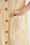 Defacto Kız Çocuk Çizgi Desenli Askılı Dokuma Elbise
