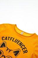 Defacto Kız Çocuk Kedi Baskılı Kısa Kollu Tişört