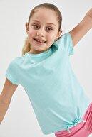 Defacto Kız Çocuk Bağlama Detaylı Kısa Kol Tişört