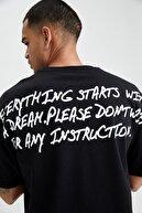 Defacto Oversize Fit Sırtı Baskılıbisiklet Yaka Tişört