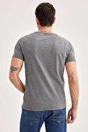 Defacto Slim Fit Bisiklet Yaka Basic Kısa Kollu Antrasit Tişört